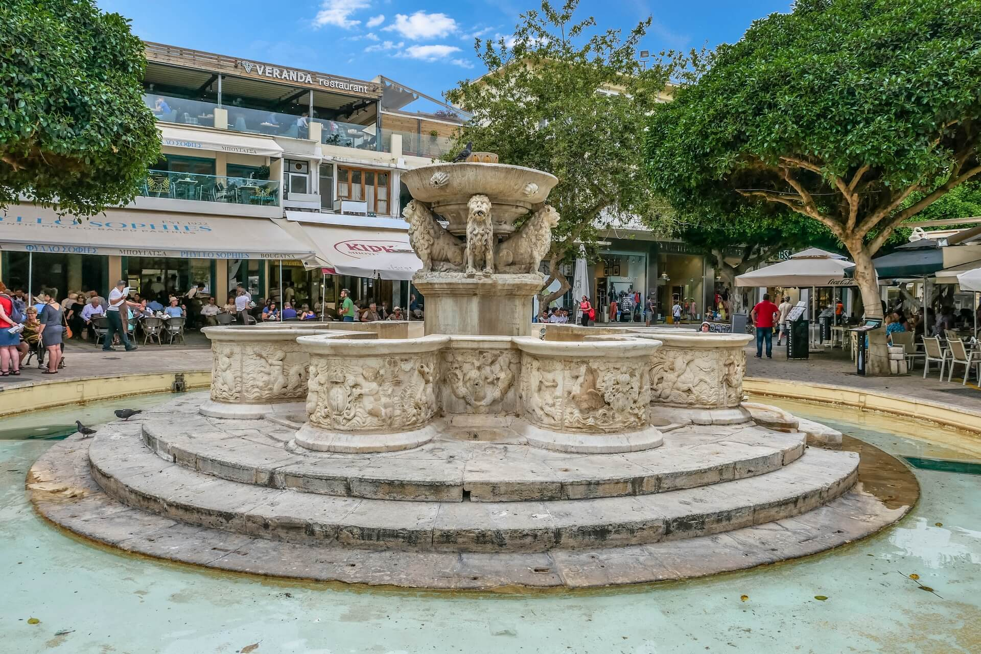 Town Heraklion Lions Fountain Liontaria Crete Greece - allincrete.com