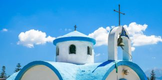 Kalamaki Port & Saint Dionysios of Olymbos Church, Chania, Crete Greece - allincrete.com