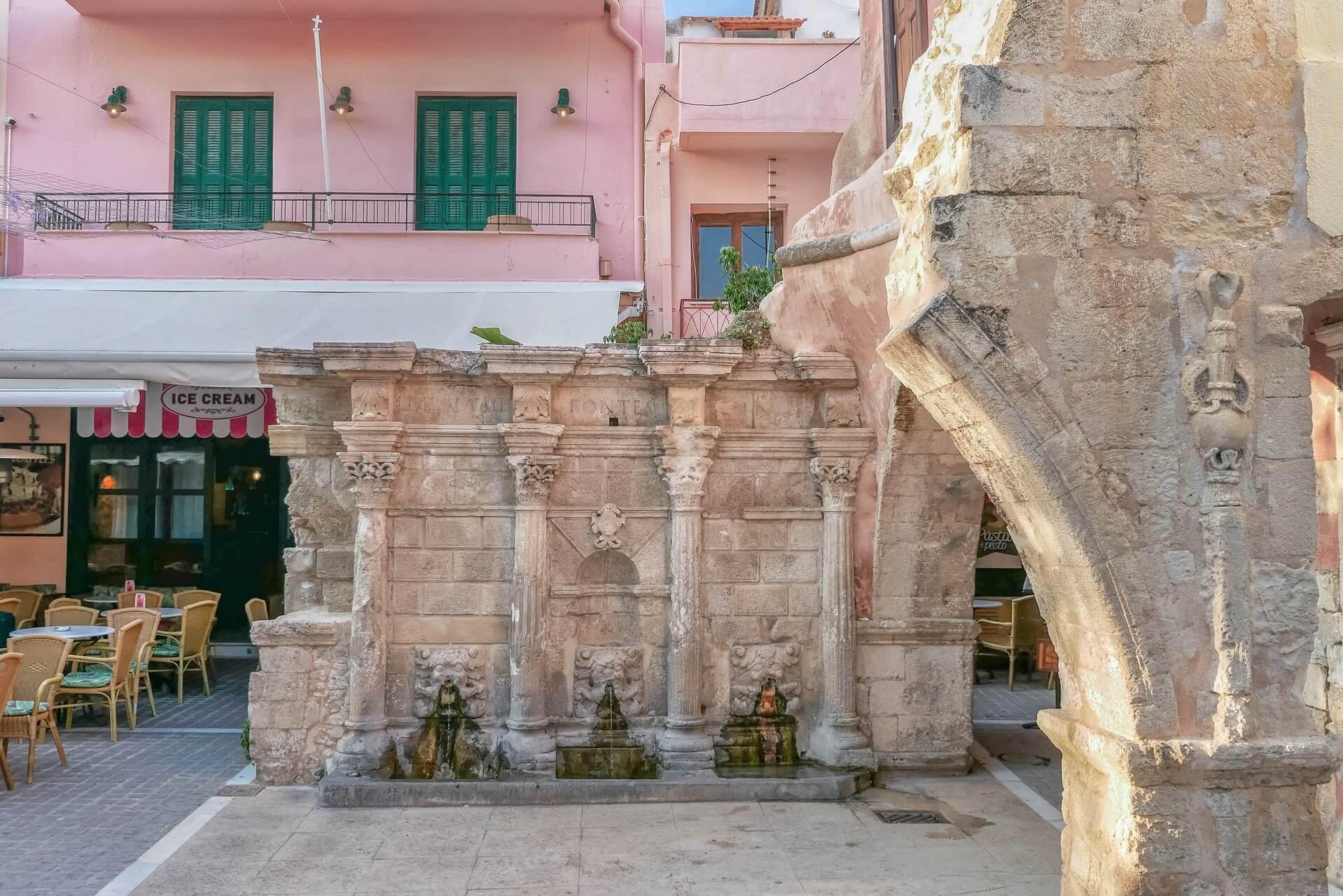 Rimondi Fountain in Rethymno Town Crete Creta Kreta - Copyright Allincrete.com